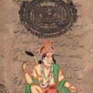 Hanuman Hindu God Painting Handmade India Ramayan Religious Old Stamp Paper Art