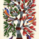 Gond Indian Painting Handmade Tree of Life Tribal Folk Miniature Wall Decor Art