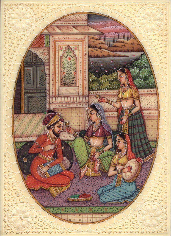 Mughal Indian Empire Miniature Art Handmade Watercolor Mogul Harem Folk Painting