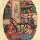 Mughal Indian Empire Miniature Art Handmade Watercolor Mogul Harem Folk Painting