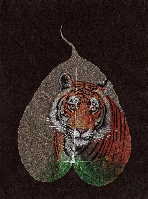 Peepal Leaf Painting Handmade Indian Miniature Tiger Drawing Wall Decor Art