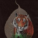 Peepal Leaf Painting Handmade Indian Miniature Tiger Drawing Wall Decor Art