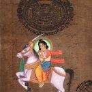 Kalki Tenth Vishnu Avatar Painting Handmade Stamp Paper Indian Hindu Deity Art