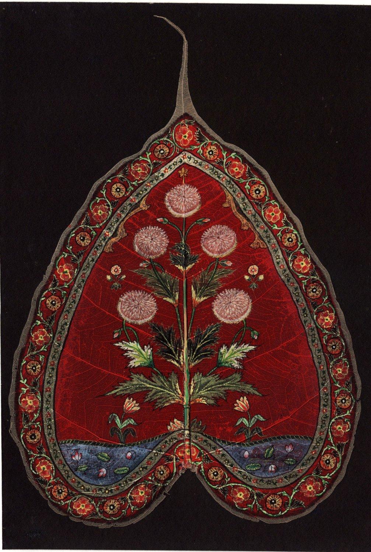 Peepal Leaf Painting Handmade Indian Miniature Floral Wall