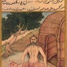 Yoga Asana Art Handmade Indian Persian Miniature Nauli Kriya Decorative Painting