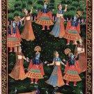 Krishna Radha Rasleela Art Handpainted Rajasthan Religious Hindu Folk Painting