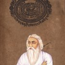 Rabindranath Tagore Art Handmade Indian Miniature Stamp Paper Portrait Painting
