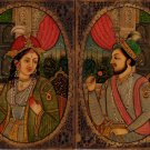 Mughal Portrait Art Antique Look Indian Painting of Shah Jahan and Mumtaz Mahal