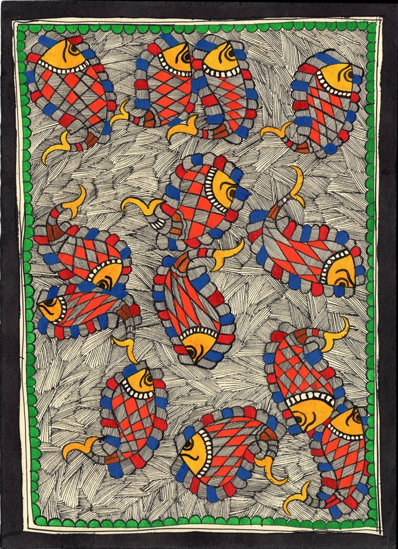 Madhubani Indian Tribal Folk Art Handmade Mithila Bihar Ethnic Fish Painting