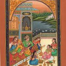 Mughal Harem Court Miniature Painting Exotic Handmade Moghul Watercolor Folk Art