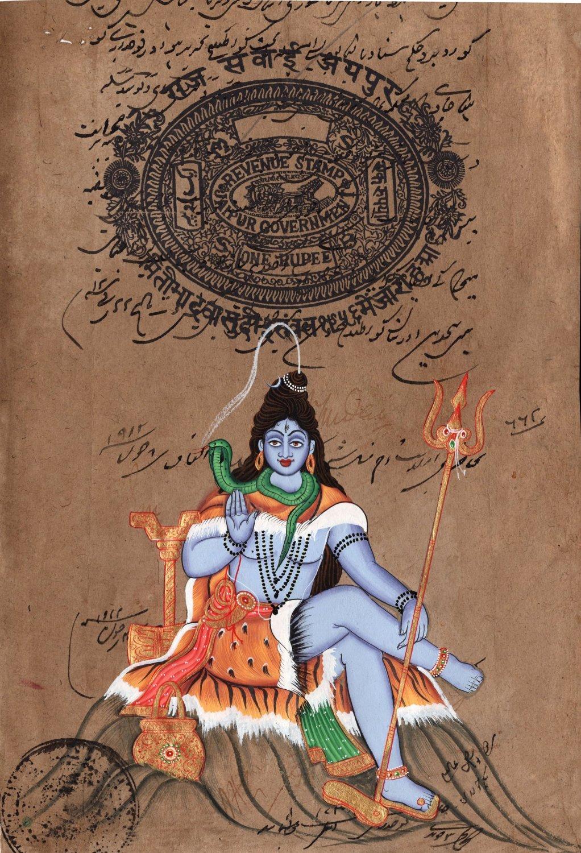 Shiva Artwork Handmade Old Stamp Paper Indian Religious Shiv Hindu God Painting