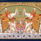 Vishnu Lakshmi Painting Handmade Hindu Deity Religious Ethnic Watercolor Art