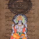 Vishnu Hindu God Art Indian Miniature Religious Handmade Spiritual Folk Painting