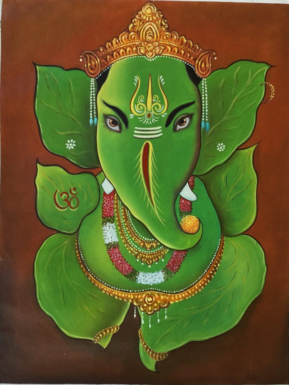 Leaf Ganesh Painting Handmade Oil on Canvas Indian God Ganesha Hindu Decor Art