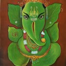 Leaf Ganesh Painting Handmade Oil on Canvas Indian God Ganesha Hindu Decor Art