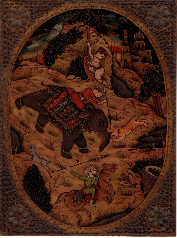 Mughal Painting Rare Handmade Antique Finish Indian Moghul Royal Hunt Folk Art