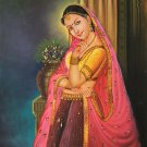 Rajasthani Princess Painting Handmade Indian Nayika Damsel Canvas Oil Decor Art