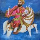 Guru Gobind Singh Sikh Art Handmade Punjab Equestrian Oil Canvas Ethnic Painting