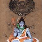 Shiva Painting Handmade Old Stamp Paper Indian Religious Shiv Hindu God Artwork