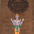 Vishnu Indian God Painting Hindu Religious Handmade Miniature Spiritual Folk Art
