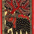 Madhubani Elephant Motif Art Indian Mithila Handmade Miniature Tribal Painting