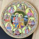 Krishna Radha Marble Plate Hindu Art Handmade Indian Miniature Marble Plate Art