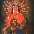 Durga Mother Goddess Art Handmade Indian Wall Decor Hindu Oil on Canvas Painting