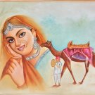 Rajasthani Desert Princess Painting Handmade Indian Damsel Canvas Oil Decor Art