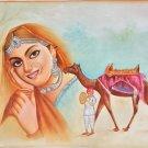 Rajasthani Desert Princess Painting Handmade Indian Damsel Canvas Oil Decor Art