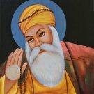 Guru Nanak Dev Sikh Painting Handmade Punjab Religion Oil Canvas Ethnic Folk Art