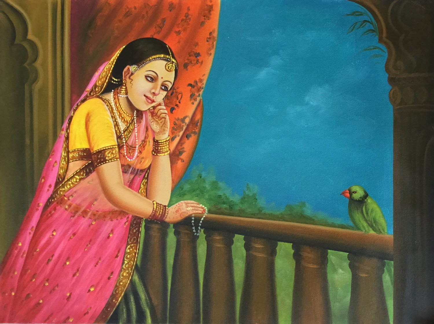 Rajasthan Lady Painting Handmade Indian Damsel Parrot Wall Decor Canvas Oil Art