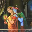 Krishna Radha Hindu Handmade Painting Indian Portrait Oil on Canvas Decor Art