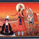 Guru Gobind Singh Sikh Painting Handmade Punjab Religion Watercolor History Art