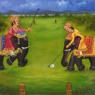 Elephant Polo Rajasthan Painting Handmade Indian Sport Wall Decor Canvas Oil Art