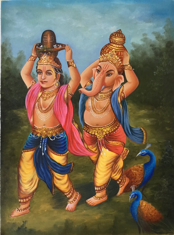 Shiva Lingam Murugan Ganesha Painting Handmade Hindu Deity Canvas Oil Decor Art