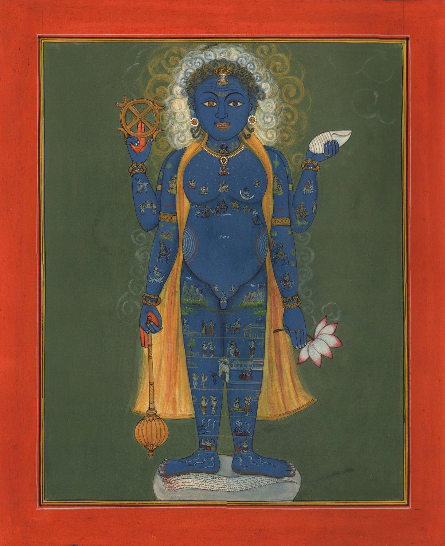 Vishnu Vishvarupa Yoga Painting Handmade Indian Miniature Hindu Vishwaroopa Art