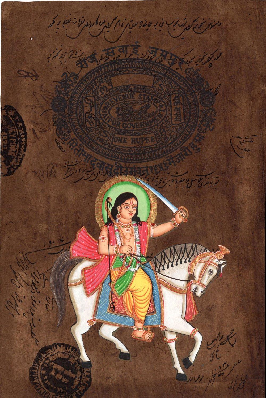 Kalki Final Vishnu Avatar Art Handmade Stamp Paper Indian Hindu Deity Painting