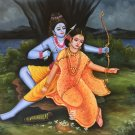 Rama Sita Ramayana Art Handmade Indian Hindu Ethnic Oil on Canvas Folk Painting