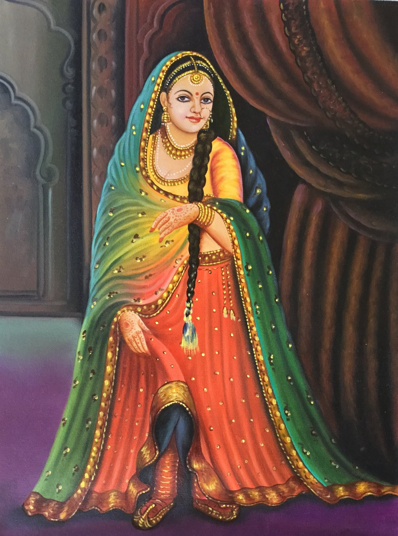 Rajasthani Lady Painting Handmade Indian Nayika Damsel Wall Decor Canvas Oil Art