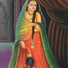 Rajasthani Lady Painting Handmade Indian Nayika Damsel Wall Decor Canvas Oil Art