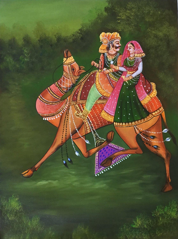 Rajasthan Folk Painting Handmade Dhola Maru Indian Ethnic Decor Canvas Oil Art