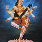 Saraswati Hindu Goddess Painting Handmade Indian Religious Oil on Canvas Artwork