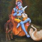 Krishna Handmade Decor Art Indian Hindu Deity Portrait Oil on Canvas Painting