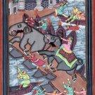 Mughal Empire Miniature Painting Rare Handmade Moghul Akbar Aquatic Theme Art
