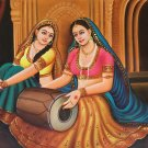 Rajasthani Musical Damsel Painting Handmade Indian Oil on Canvas Wall Decor Art