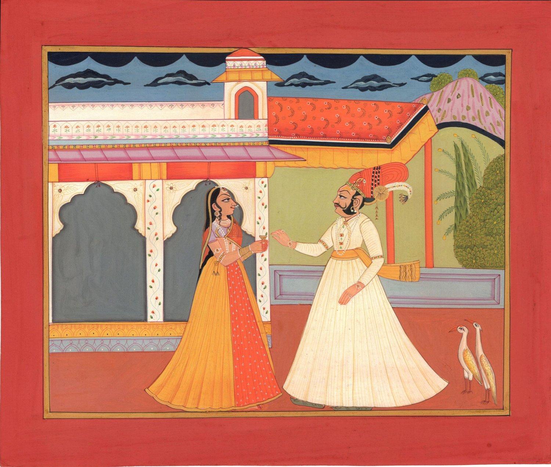 Kota Rajasthani Art Handmade Indian Miniature Maharajah Maharani Folk Painting