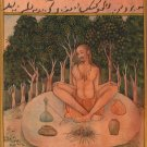 Yoga Asana Art Handmade Indian Persian Miniature Kumbhaka Pranayama Painting