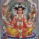 Brahma Vishnu Shiva Trimurti Painting Handmade Hindu Holy Deity Dattatreya Art