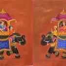 Mughal Miniature Royal Art Rare Handmade Ambabari King Elephant India Painting