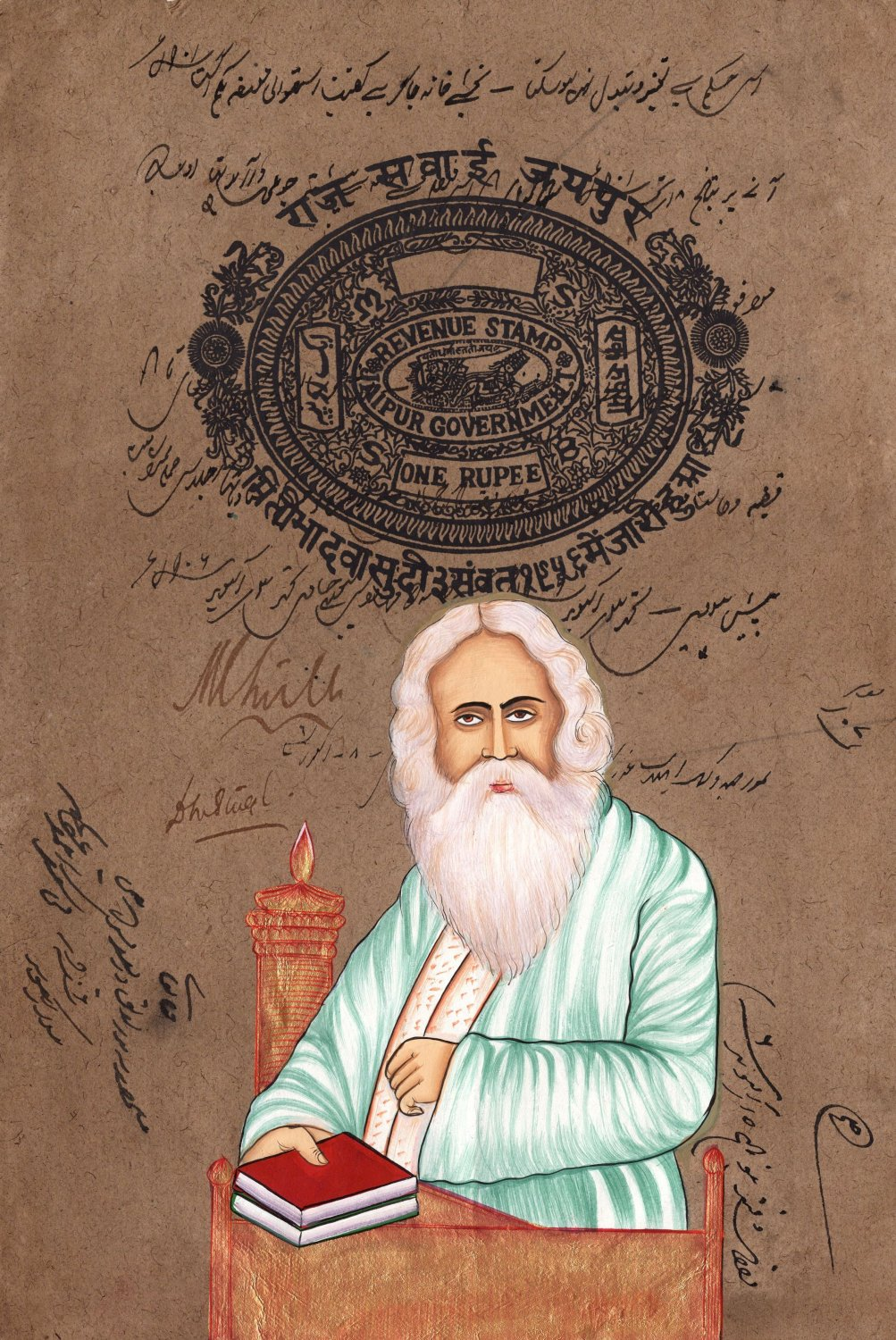 Rabindranath Tagore Handmade Art Indian Miniature Stamp Paper Portrait Painting